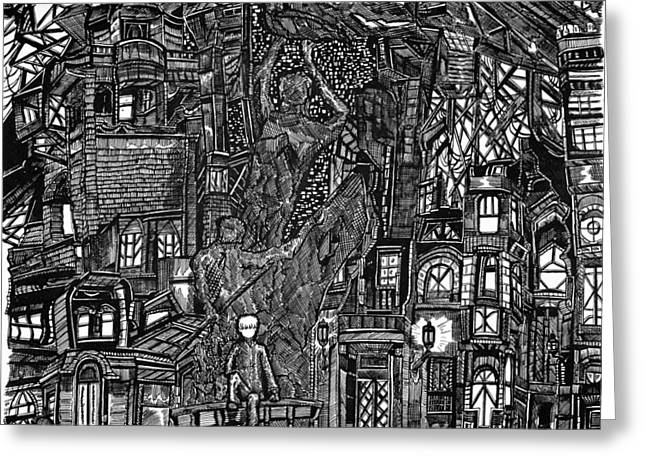 Pen And Ink Drawing Greeting Cards - My Throne My Kingdom Greeting Card by Eli Portman