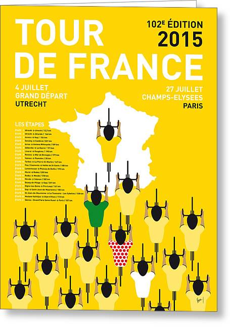 Yellows Greeting Cards - My Tour De France Minimal Poster Etapes 2015 Greeting Card by Chungkong Art