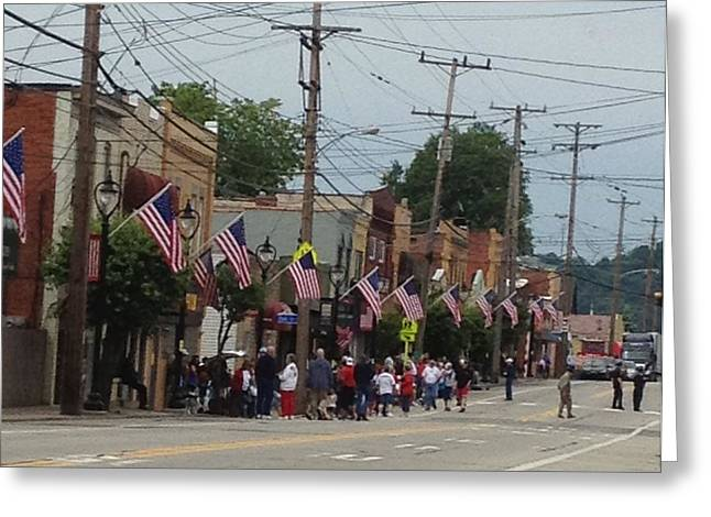 Town Mixed Media Greeting Cards - My Town USA Parade Greeting Card by Deb Sagan