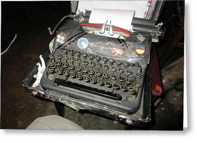 Manual Greeting Cards - My Typewriter In A Bar Greeting Card by David Lovins