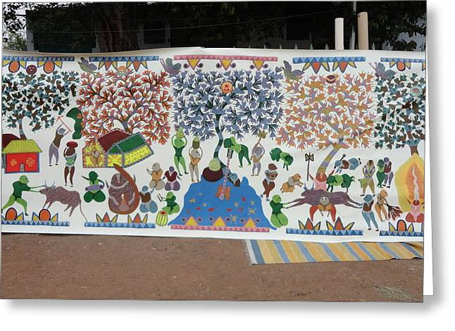 Gond Paintings Greeting Cards - My Village 2005 Greeting Card by Ram Singh Urveti