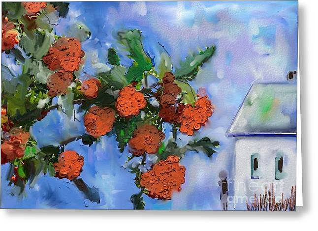 Blue Grapes Greeting Cards - My Village  Greeting Card by Aline Halle-Gilbert