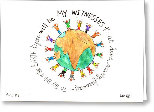 Devotional Mixed Media Greeting Cards - My Witnesses Greeting Card by Kristen Williams