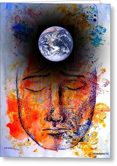Planetary Mixed Media Greeting Cards - My World Greeting Card by Paulo Zerbato