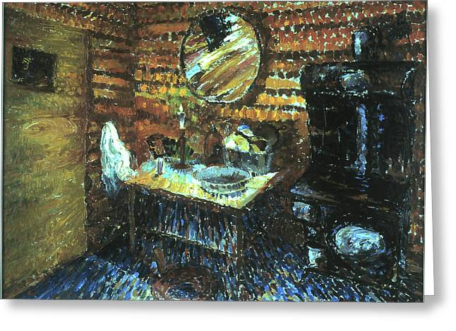 Best Sellers -  - Log Cabin Interiors Greeting Cards - My Wyoming Cabin by Candlelight Greeting Card by Willoughby  Senior