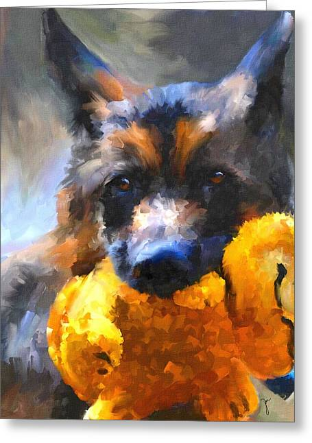 Toy Dogs Greeting Cards - My Yellow Friend Greeting Card by Jai Johnson