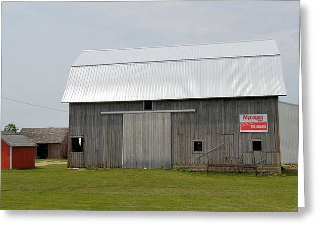 Red Roofed Barn Greeting Cards - Mycogen Barn Greeting Card by Bonfire Photography