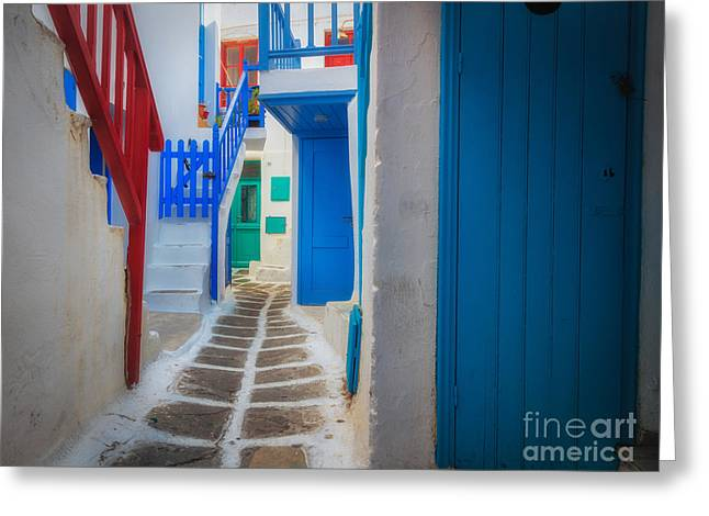 Aegean Sea Greeting Cards - Mykonos Alley Greeting Card by Inge Johnsson