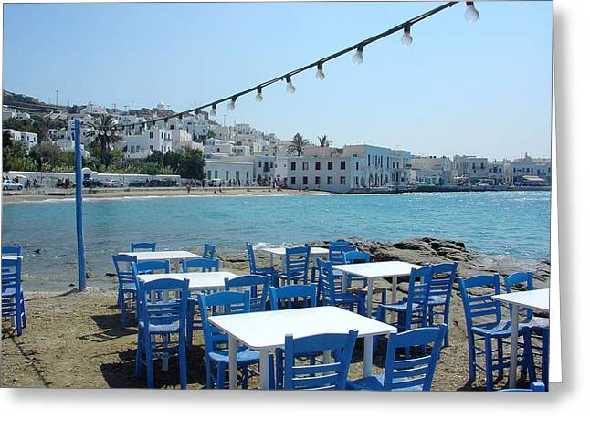 Table And Chairs Greeting Cards - Mykonos Blue and White Greeting Card by Julie Palencia