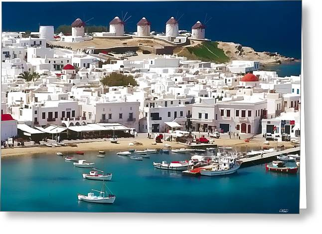 Mykonos Greeting Card by Dean Wittle