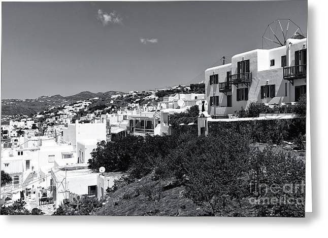 The Hills Greeting Cards - Mykonos Hills Living mono Greeting Card by John Rizzuto