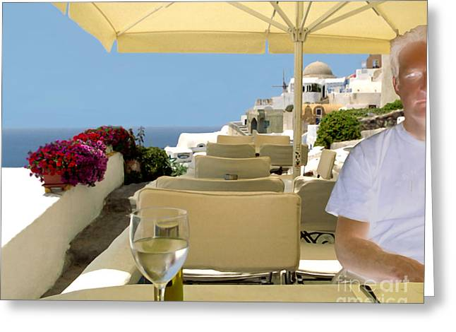 Table And Chairs Digital Greeting Cards - Mykonos Restaurant Greeting Card by Madeline Ellis