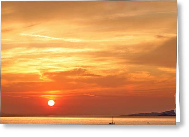 Sea Moon Full Moon Greeting Cards - Mykonos Sunset Greeting Card by Madeline Ellis