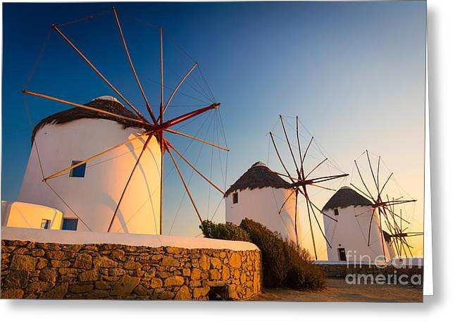 Cyclades Greeting Cards - Mykonos Windmills Greeting Card by Inge Johnsson
