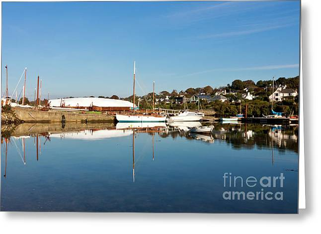 Mylor Boat Yard Panorama Greeting Card by Terri Waters