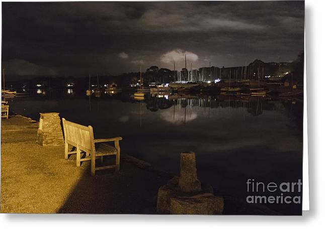 Mylor Bridge Creek At Night Greeting Card by Terri Waters