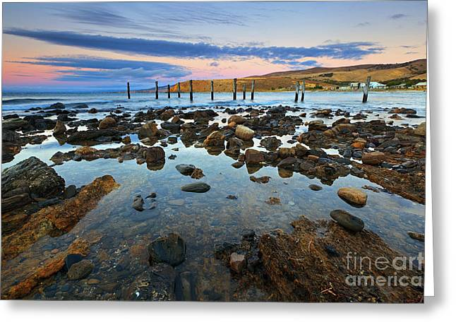 Myponga Beach Jetty Ruins Sunset Greeting Card by Bill  Robinson