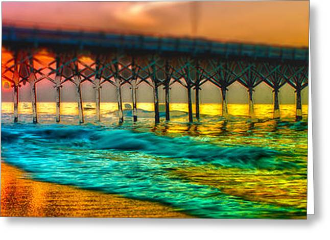 Beach At Night Greeting Cards - Myrtle Beach Pier 14 Sunrise Greeting Card by Alexandr Grichenko