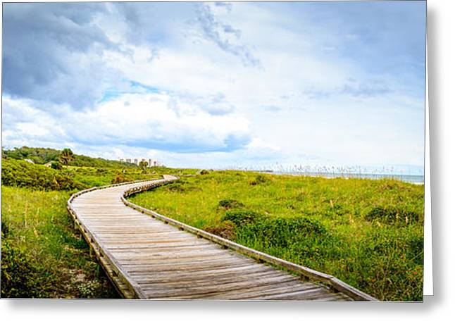 Panoramic Ocean Greeting Cards - Myrtle Beach State Park Boardwalk Greeting Card by David Smith