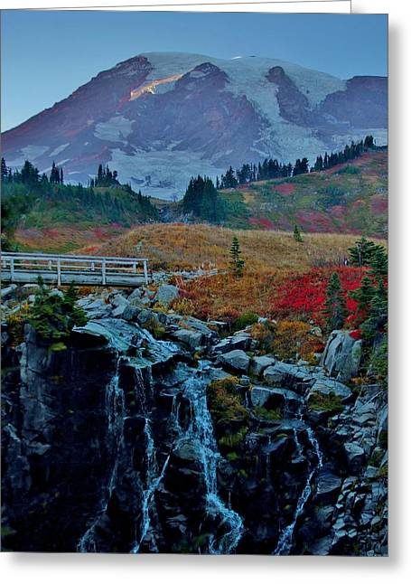 Sunset Prints Greeting Cards - Myrtle Falls at Mt. Rainier Greeting Card by Stacie Gary