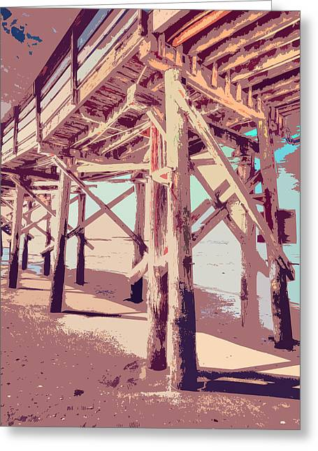 Shell Texture Greeting Cards - Myrtle Pier Painting Greeting Card by Mark Hazelton