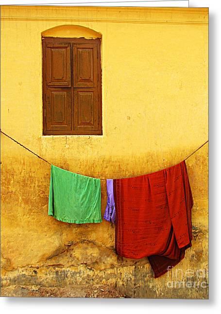 Yellow Ochre Greeting Cards - Mysore Wall Greeting Card by Derek Selander