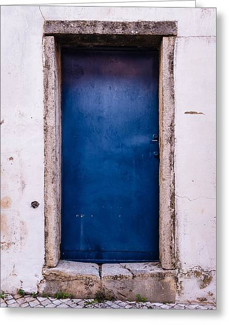 Mysterious Blue Door Greeting Card by Marco Oliveira