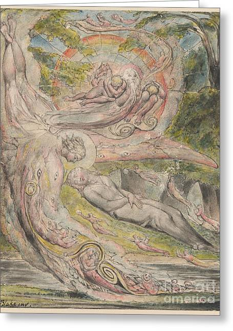 Mysterious Dream Greeting Card by William Blake