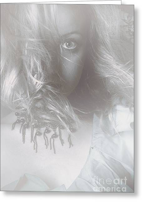 Mysterious Fine Art Fantasy Woman In Forest Mist Greeting Card by Jorgo Photography - Wall Art Gallery