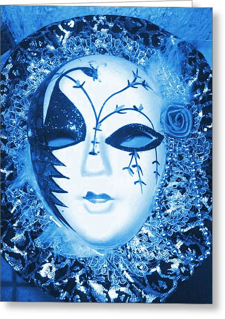 Mysterious Mask Greeting Card by Anne-Elizabeth Whiteway