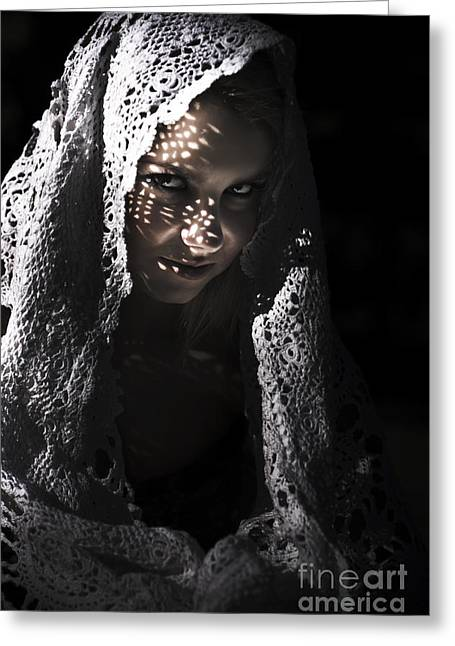 Mysterious Sinister Woman In Shawl Greeting Card by Jorgo Photography - Wall Art Gallery