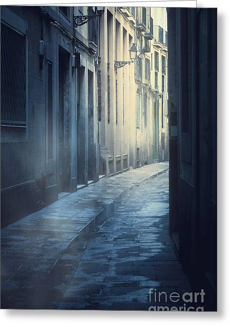 Mysterious Street Greeting Card by Svetlana Sewell