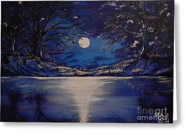 Fantasy World Greeting Cards - Mystery At Moonlight 1 Series Greeting Card by Mario Lorenz alias MaLo Magic Blue