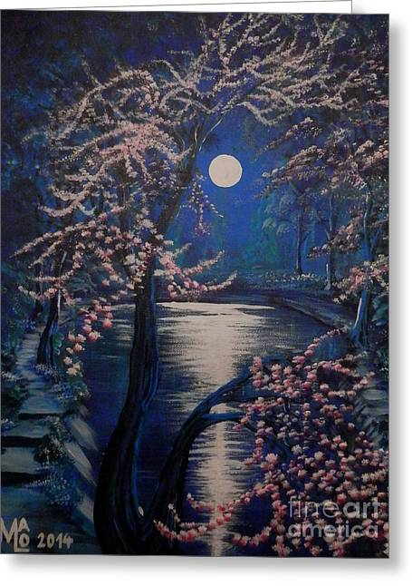 Fantasy World Greeting Cards - Mystery At Moonlight 2 Series Greeting Card by Mario Lorenz alias MaLo Magic Blue