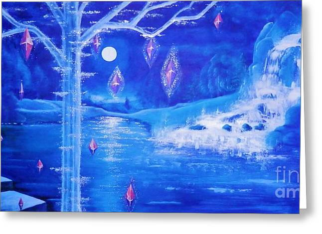 Fantasy World Greeting Cards - Mystery At Moonlight 3 Series Greeting Card by Mario Lorenz alias MaLo Magic Blue