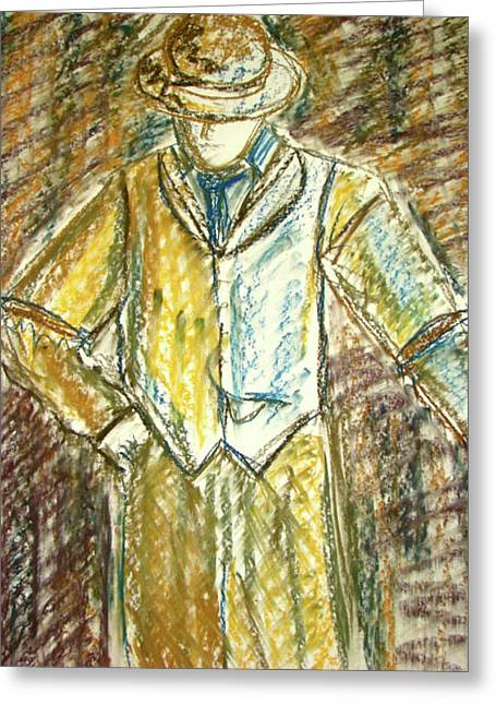 Mystery Man Greeting Card by Cathie Richardson