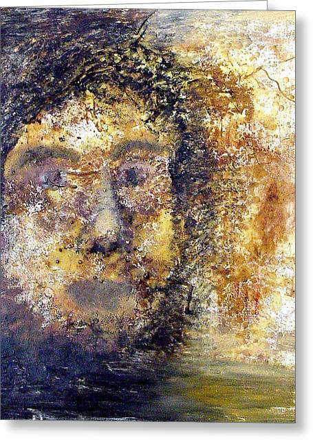 Wax Mixed Media Greeting Cards - Mystery Man Greeting Card by Lene Pieters