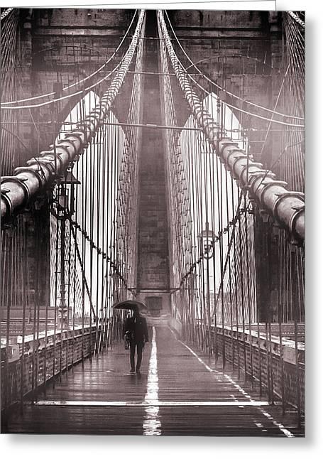 Mood Photographs Greeting Cards - Mystery Man Of Brooklyn Greeting Card by Az Jackson