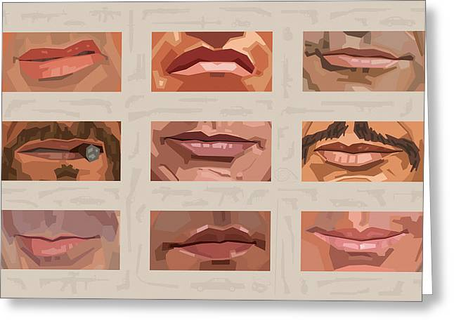 Mystery Mouths Of The Action Genre Greeting Card by Mitch Frey