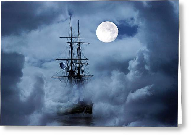 Mystery Ship Greeting Card by Stephanie Laird