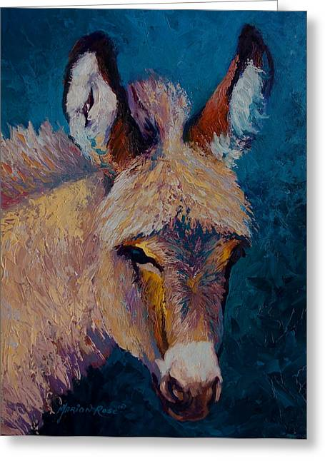 Burros Greeting Cards - Mystic - Burro Greeting Card by Marion Rose