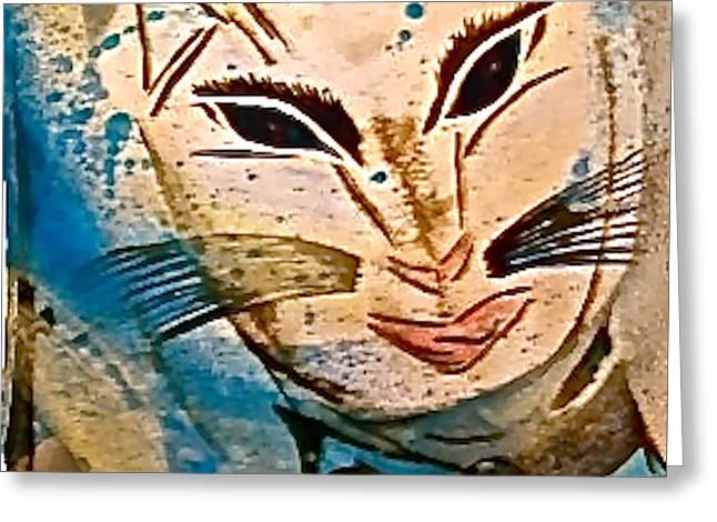 Mystic Art Greeting Cards - Mystic Cat Greeting Card by Tetka Rhu