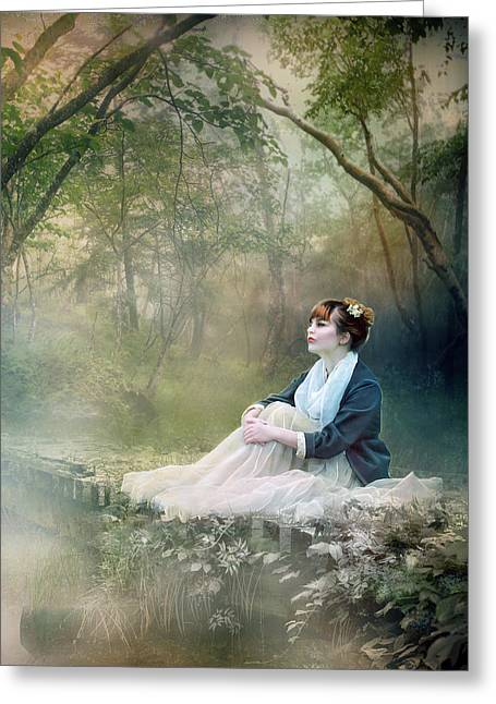 Silence Digital Art Greeting Cards - Mystic Contemplation Greeting Card by Karen K