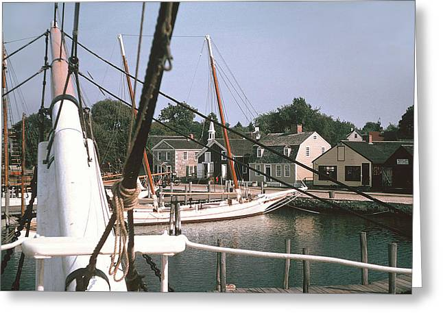 Mystic Harbor  Windjammers Vintage Tall Sailing Ships Picture Decor Greeting Card by John Samsen