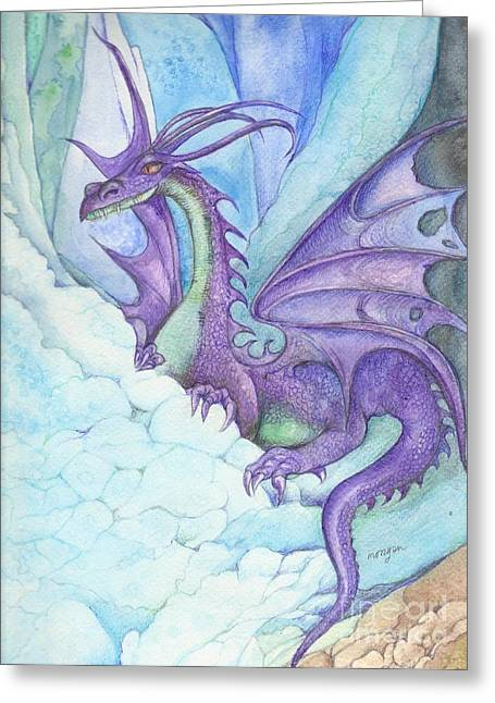 Mystic Art Greeting Cards - Mystic Ice Palace Dragon Greeting Card by Morgan Fitzsimons