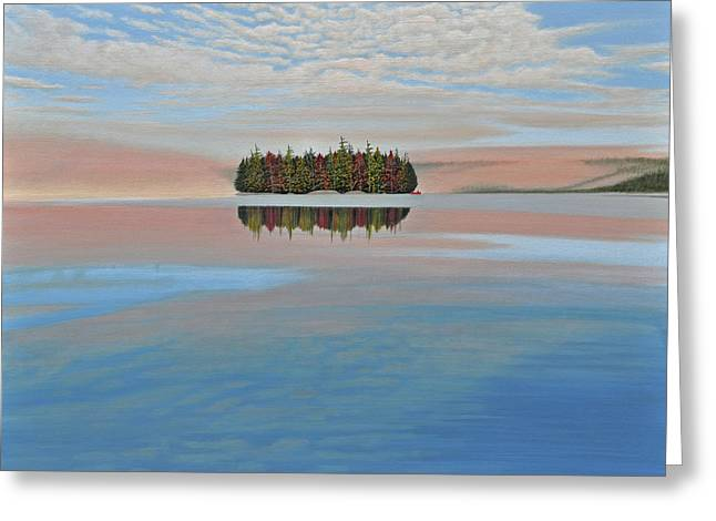 Canoe Paintings Greeting Cards - Mystic Island Greeting Card by Kenneth M  Kirsch