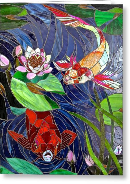 Chinese Glass Art Greeting Cards - Mystic Koi Greeting Card by Jooj Hooker