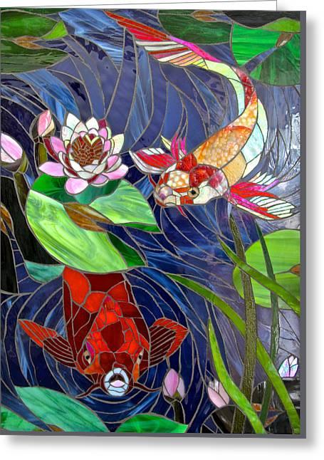 Japanese Glass Greeting Cards - Mystic Koi Greeting Card by Jooj Hooker