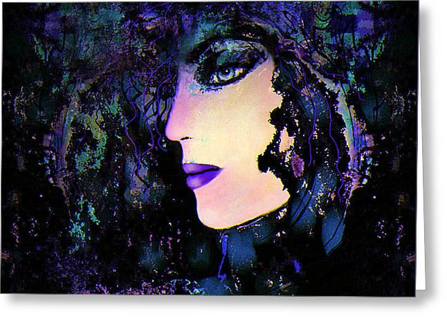 Luna Mixed Media Greeting Cards - Mystic Lady Greeting Card by Natalie Holland