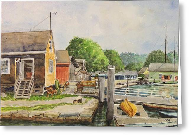 Historic Schooner Greeting Cards - Mystic Seaport Boathouse Greeting Card by Patty Kay Hall